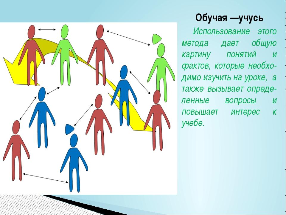 Обучая —учусь Использование этого метода дает общую картину понятий и фактов,...