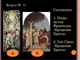 Соотнесите: 1. Пьеро делла Франческа «Крещение Христа» 2. Эль Греко «Крещение