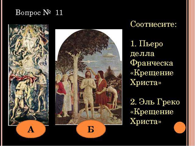 Соотнесите: 1. Пьеро делла Франческа «Крещение Христа» 2. Эль Греко «Крещение...