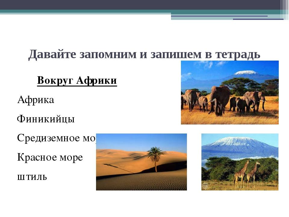 Давайте запомним и запишем в тетрадь Вокруг Африки Африка Финикийцы Средиземн...