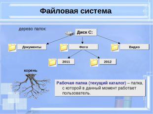 Файловая система Рабочая папка (текущий каталог) – папка, с которой в данный