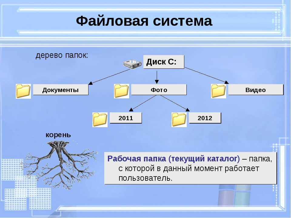 Файловая система Рабочая папка (текущий каталог) – папка, с которой в данный...