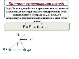 Принцип суперпозиции полей: Опр1.Если в данной точке пространства различные