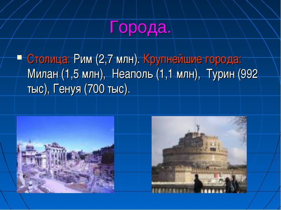 Города. Столица: Рим (2,7 млн). Крупнейшие города: Милан (1,5 млн), Неаполь...