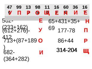 562-(233+162) Е У 713+(87+189) (612+276)-412 О 682-(364+282) И 314-204 Щ 86+4