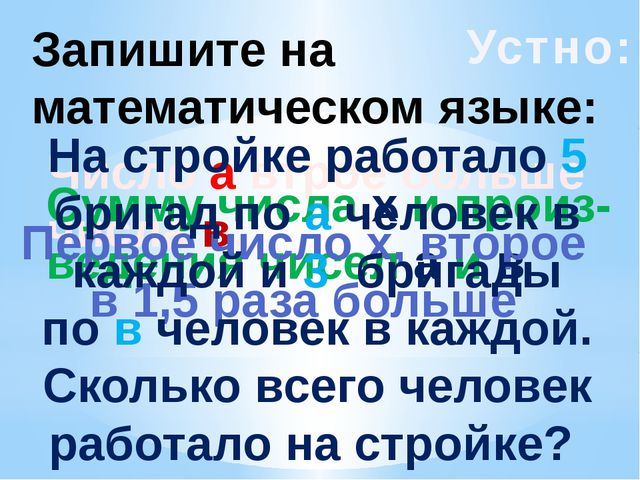 Устно: Запишите на математическом языке: Число а втрое больше числа в; Сумму...