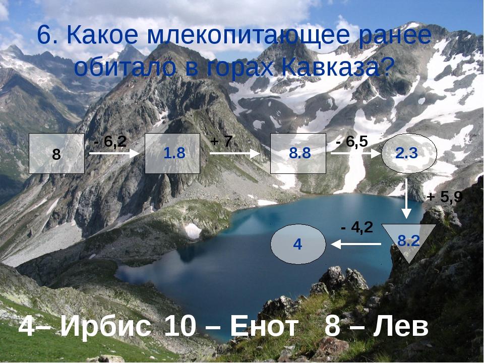 6. Какое млекопитающее ранее обитало в горах Кавказа? 4– Ирбис10 – Енот 8 –...