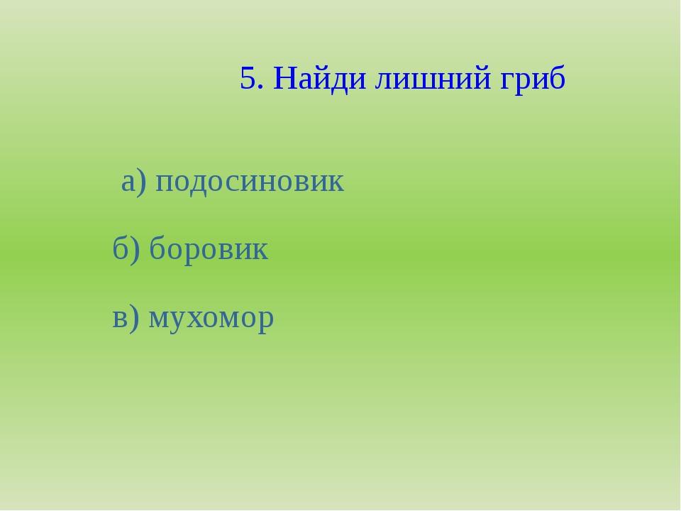 5. Найди лишний гриб а) подосиновик б) боровик в) мухомор