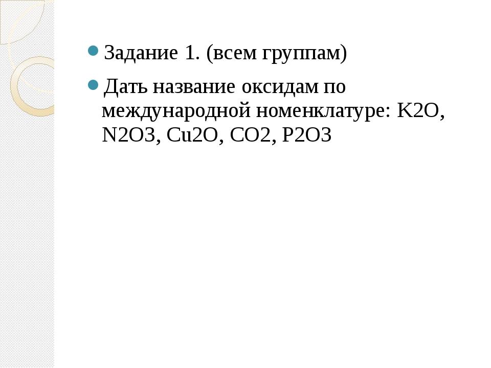 Задание 1. (всем группам) Дать название оксидам по международной номенклатур...