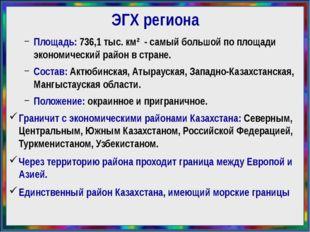 ЭГХ региона Площадь: 736,1тыс. км² - самый большой поплощади экономический