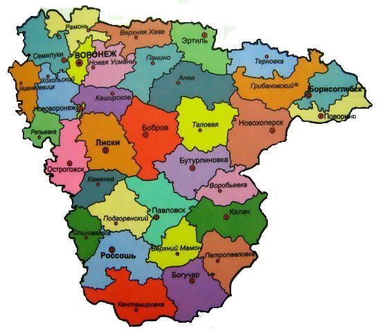 карта воронежской обл