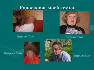 Родословие моей семьи Дедушка Толя Бабушка Таня Бабушка Люба Дедушка Коля