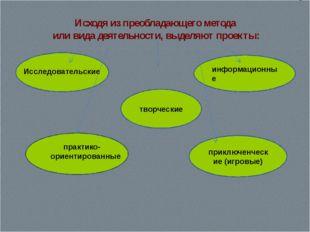 Исходя из преобладающего метода или вида деятельности, выделяют проекты: твор