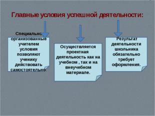Главные условия успешной деятельности: Специально организованные учителем усл