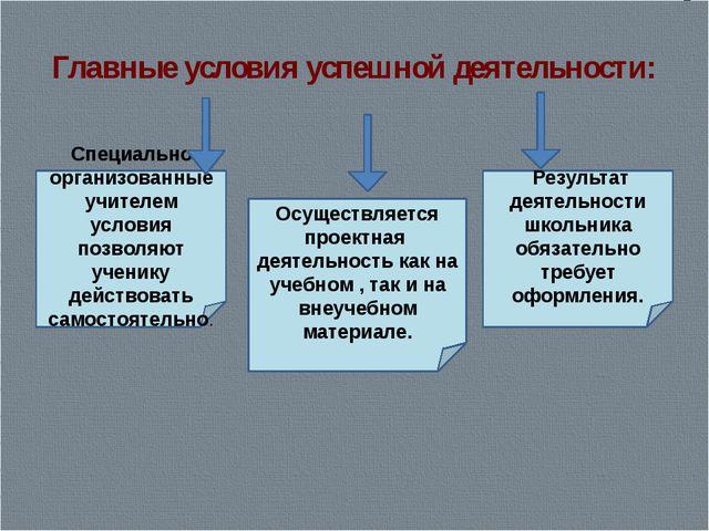 Главные условия успешной деятельности: Специально организованные учителем усл...