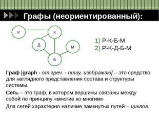 Графы (неориентированный): 1) Р-К-Б-М 2) Р-К-Д-Б-М Граф [graph - от греч. - п