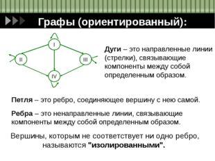 Графы (ориентированный): Дуги – это направленные линии (стрелки), связывающие