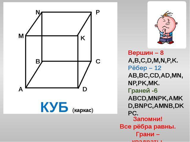 Вершин – 8 A,B,C,D,M,N,P,K. Рёбер – 12 AB,BC,CD,AD,MN,NP,PK,MK. Граней -6 ABC...