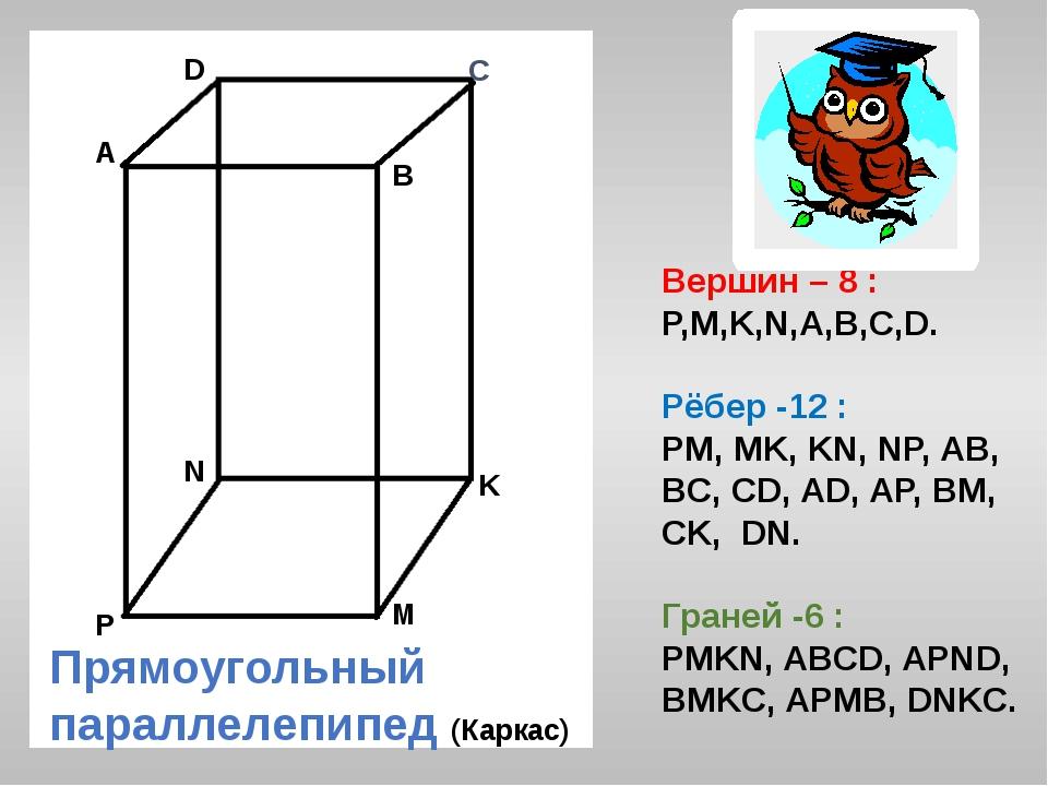 С А В D K M N P Вершин – 8 : P,M,K,N,A,B,C,D. Рёбер -12 : PM, MK, KN, NP, AB,...