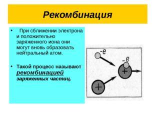 Рекомбинация При сближении электрона и положительно заряженного иона они могу