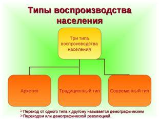 Типы воспроизводства населения Переход от одного типа к другому называется де