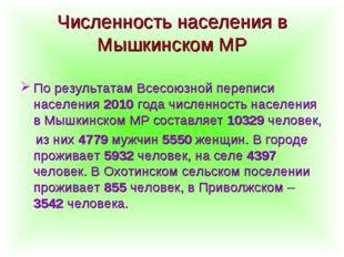 Численность населения в Мышкинском МР По результатам Всесоюзной переписи насе