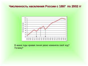 Численность населения России с 1897 по 2002 гг В какие годы кривая линия резк