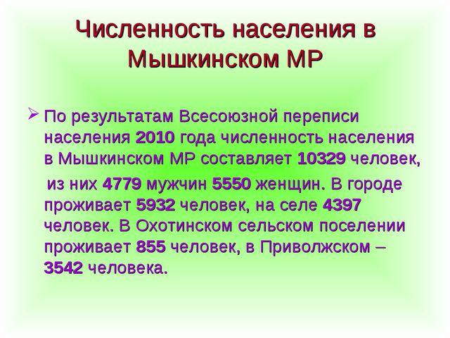 Численность населения в Мышкинском МР По результатам Всесоюзной переписи насе...