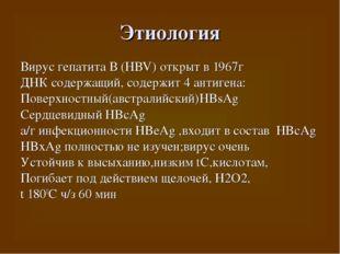 Этиология Вирус гепатита В (HBV) открыт в 1967г ДНК содержащий, содержит 4 ан
