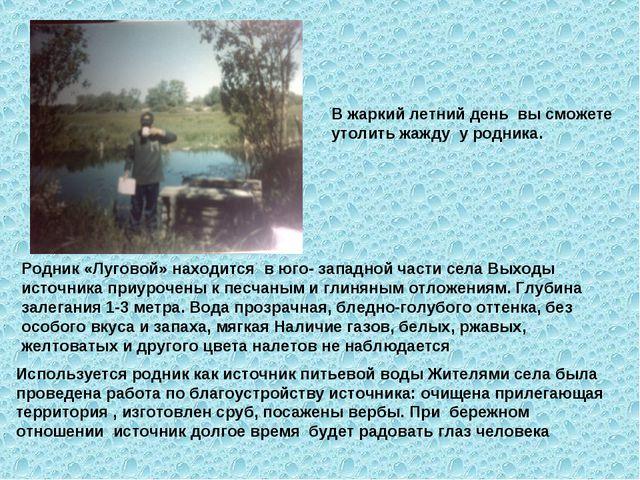Родник «Луговой» находится в юго- западной части села Выходы источника приуро...
