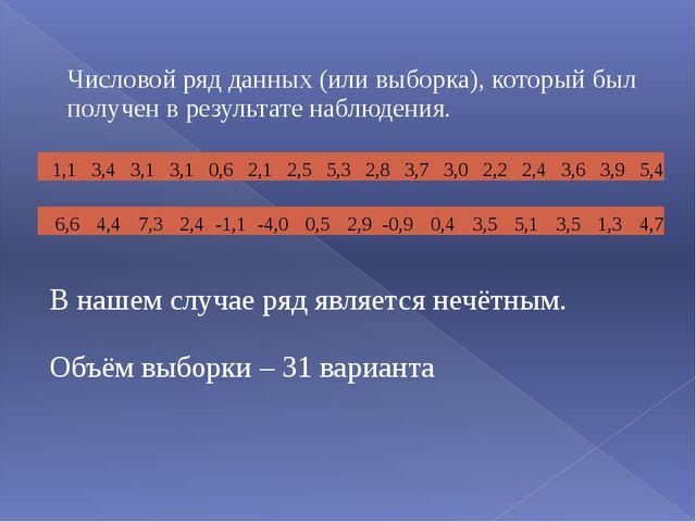 Числовой ряд данных (или выборка), который был получен в результате наблюден...