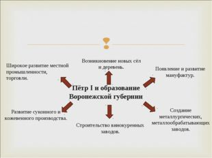 Пётр I и образование Воронежской губернии Широкое развитие местной промышленн