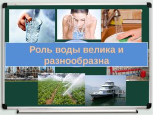 Применение воды Роль воды велика и разнообразна