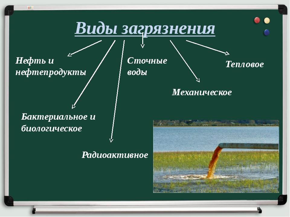 Виды загрязнения Нефть и нефтепродукты Сточные воды Тепловое Механическое Бак...