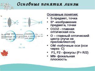 Основные понятия линзы Основные понятия: S-предмет, точка S* -изображение пре