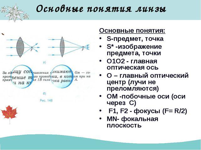 Основные понятия линзы Основные понятия: S-предмет, точка S* -изображение пре...