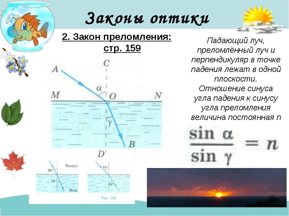 Законы оптики 2. Закон преломления: стр. 159 Падающий луч, преломлённый луч и...