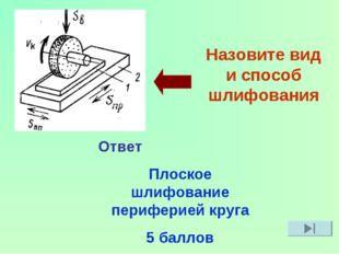 Назовите вид и способ шлифования Ответ Плоское шлифование периферией круга 5