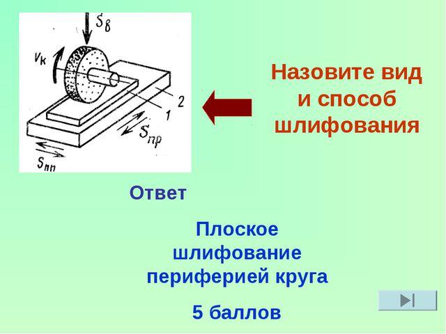Назовите вид и способ шлифования Ответ Плоское шлифование периферией круга 5...