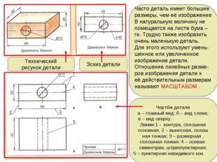 Технический рисунок детали Эскиз детали Часто деталь имеет большие размеры, ч