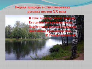 Родная природа в стихотворениях русских поэтов XX века В тебе величье моего