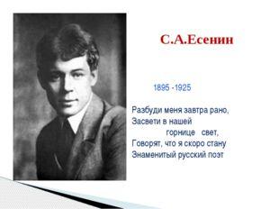 С.А.Есенин 1895 -1925 Разбуди меня завтра рано, Засвети в нашей горнице свет,