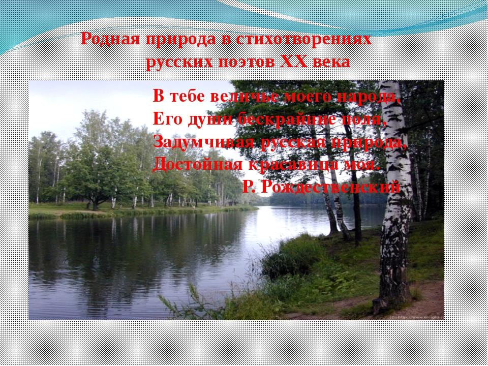 Родная природа в стихотворениях русских поэтов XX века В тебе величье моего...