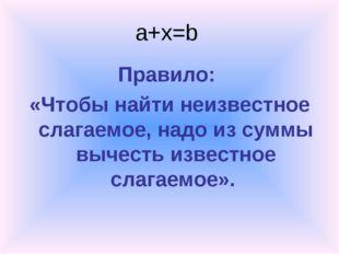 a+x=b Правило: «Чтобы найти неизвестное слагаемое, надо из суммы вычесть изве