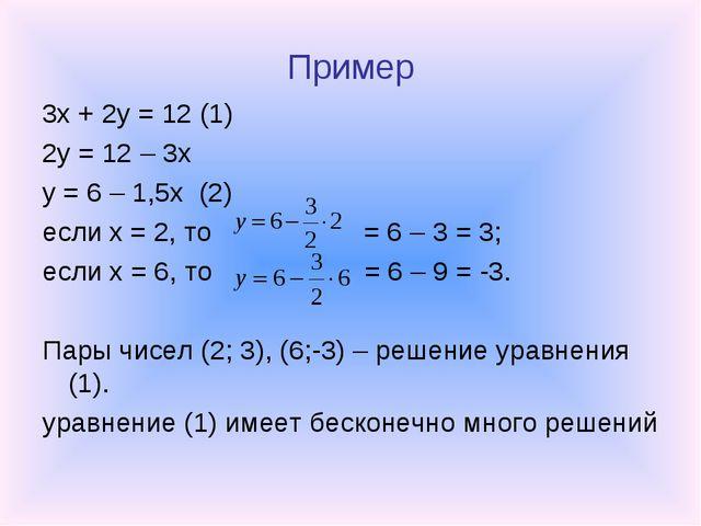 Пример 3x + 2y = 12 (1) 2y = 12 – 3x y = 6 – 1,5x (2) если x = 2, то = 6 – 3...