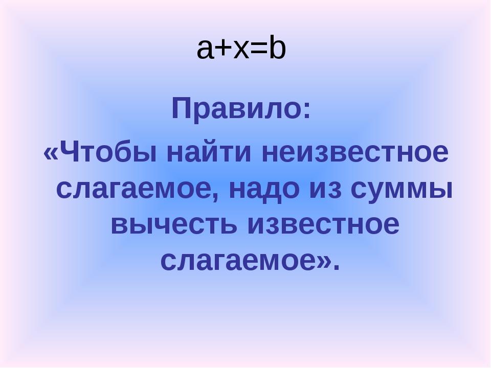 a+x=b Правило: «Чтобы найти неизвестное слагаемое, надо из суммы вычесть изве...