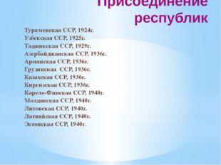 Присоединение республик Туркменская ССР, 1924г. Узбекская ССР, 1925г. Таджикс