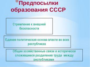 Предпосылки образования СССР Общие хозяйственные связи и исторически сложивше