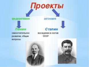 Проекты федеративное автономия Ленин Сталин самостоятельное вхождение в соста