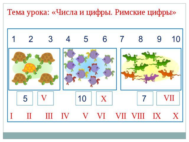 Тема урока: «Числа и цифры. Римские цифры»